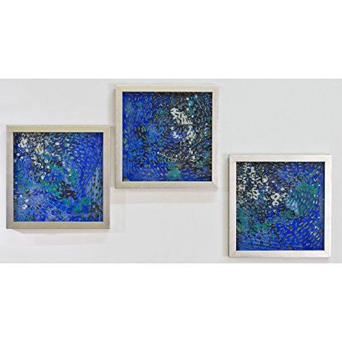 Glas-Bild Aqua, 3er Set,blautöne, 40 x40 cm (Aqua Bilder)