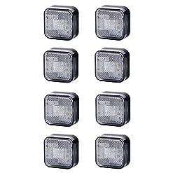 8x 4SMD LED bianco luce di indicatore laterale 12V 24V e-contrassegnato auto camion rimorchio camper caravan Van luce di posizione set Quadrat Square anteriore universale