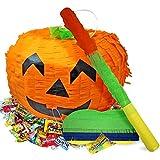 The Twiddlers Juego de Piñata de Calabaza Grande Halloween, 35 x 25 cm - Incluye Palo y Venda - Juego Fiestas de Halloween, Decoración, Dulce o Travesura para Niños y Adultos