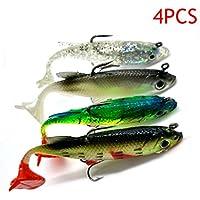 ROKOO 4pcs Arrive 8cm 14g Soft Bait Lead Head Sea Fish Lures Fishing Tackle Sharp Treble Hook T Tail