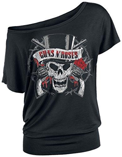 t Skull Girl-Shirt Schwarz S (Top Gun Hat)