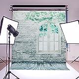 Mohoo Fotografie-Hintergrund, 152 x 213 cm, Vinyl, mit Motiv Steinmauer, Wand mit Fenster, Studio-Requisit
