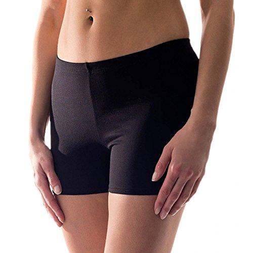 Alkato Damen Shorts Hotpants Blickdicht Baumwolle Stretch, Farbe: Schwarz, Größe: 40
