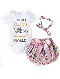 LAA Girl's Cotton Text Print Onesies and Bloomer with Headband Set White