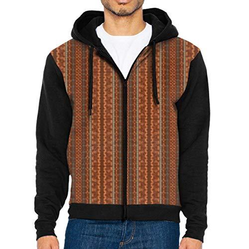 Trendy Brown und Orange Chevron 3D Hoodie Full Zip Print Sweatshirts Pullover Lässige Taschenjacke XXL -