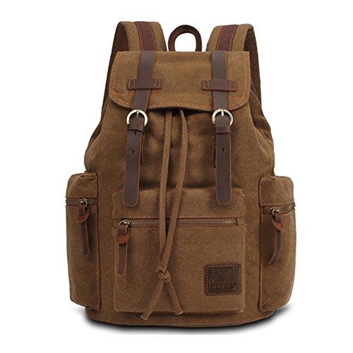 Kaukko Escuela Mochila Hombres Mujeres Vintage Canvas Backpack Senderismo Bolsa Casual Bolsa de viaje para Sony / Canon / Nikon / Olympus / iPad y Tablet Samsung / Laptop de 14