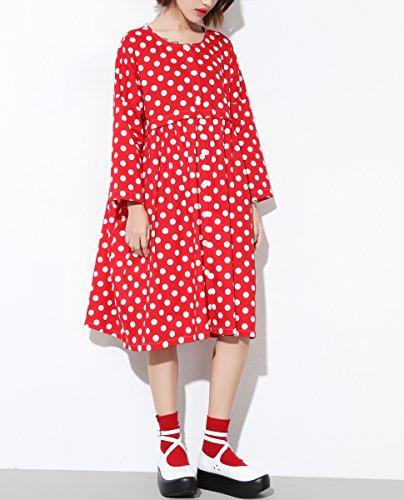 ELLAZHU Femme Ample Points Col Ras-Du-Cou Bouton Enfoncé Robe GY1223 red