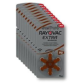 Rayovac Extra Advanced Batterie Acustiche Zinco Aria, Formato 312 Value, Pacco da 60 Batterie, Marrone