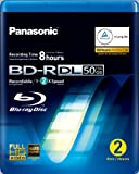 Panasonic LM-BRU50AE2 50GB Write Once Blu-ray Media Video Box -2 per Pack