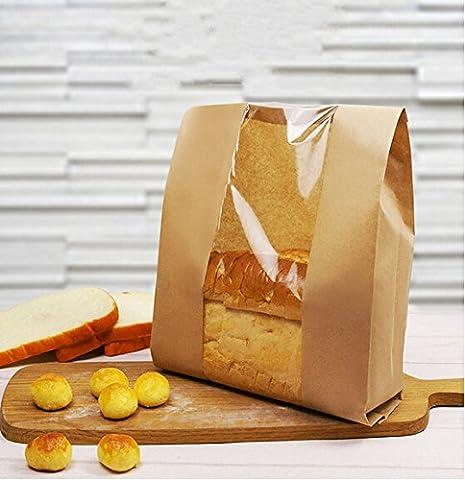Funcoo Lot de 50Kraft Nourriture papier d'emballage à pain boulangerie Sac avec fenêtre avant, étiquette d'étanchéité Autocollant inclus Style-2