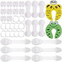 Rovtop 36 Pcs kit de Seguridad para Bebés, 12 Protectores de Esquina de Silicona,