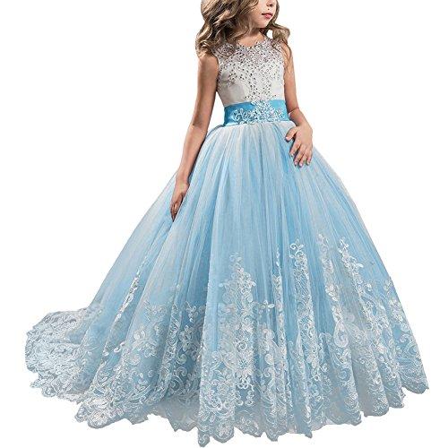 (Mädchen Kleider Brosche Prinzessin Kleid Belle Einfarbig Drop Shoulder Falten Rock Cosplay Kostüme #3 Hellblau 12-13 Jahre)