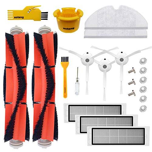 Zubehör für XIAOMI Mi Roboter Robo 2 Rock S50 Vakuum Ersatzteile 3 Stück Seitenbürste 3 Stück HEPA Filter 2 Stück Hauptbürste 1 Stück Reinigungswerkzeug 6 Stück Wassertank Filter