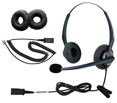 dailyheadset RJ9NC Duo Büro Telefon mit Headset für Analog Business IP Office Festnetztelefon, Aastra AltiGen Avaya Digium Mitel Nortel Meridian Polycom shoretel Paket 8TalkSwitch Meridian 1 Pbx