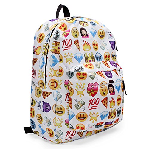 51H2%2BVBka9L. SS500  - KING DO WAY Emoji School Bag Backpack Canvas Laptop for Boys Girls Student Travel Books Shoulder Bag