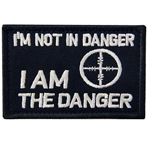 Danger Kostüm Girl - Ich bin nicht in Gefahr, I am the Danger Patch Bestickt Tactical Aufnäher Army Moral Haken & Schleife Emblem weiß