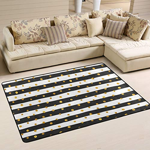 JSTEL - Alfombra Lavable con Lunares Dorados y Blancos, diseño de Rayas, 90 x 60 cm, cómoda Alfombra para salón o Dormitorio, 180 x 120 cm