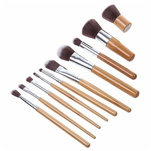 HuaYang Natur Bambus Griff Kosmetisch Pulver Grundlage Mischung Pinsel 10 Stück