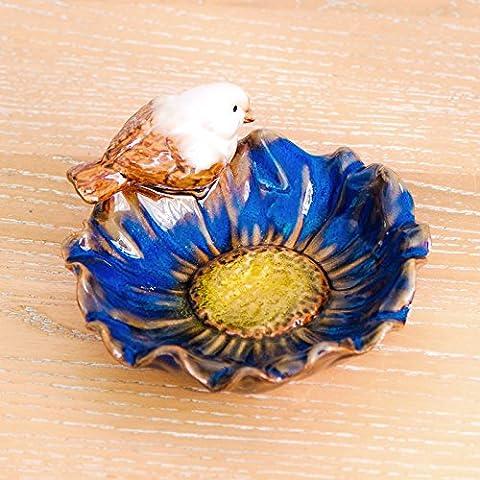 Adornos de placa giratoria de aves Home Escritorio Accesorios Caja de jabón de cerámica decorado con frutas Platterc)