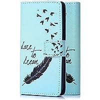 tinxi® Kunstleder Tasche für Microsoft Lumia 650 Tasche Schutz Hülle Schale Etui Flip Case Cover Standfunktion mit Karten Slot Feder in blau