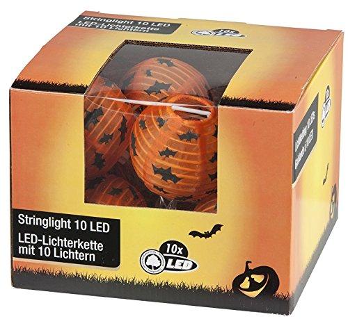 Guirlande HALLOWEEN - 10 Lampions 7,5cm 2m25 - LED - ORANGE - Neuf