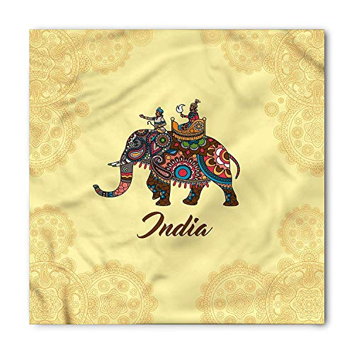 Mandala Bandana, Eastern Ancient Elephant, Unisex Head and Neck Tie,Unisex Bandana Head and Neck Tie Neckerchief Headdress Silk-Like 100% Polyester(size:M)