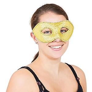 Bristol Novelty EM114 - Máscara para ojos con diamantes y lazo, talla única, color dorado