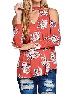 Vin beauty Donne Superiore Maglietta Tee Top T Shirts sciolto Maniche lunghe a stampa floreale V collo Harajuku...