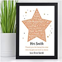 Thank You Gifts for Teachers - PERSONALISED Teacher Gift - School Leaving Gifts for Teachers, Teaching Assistants, Nursery, TA, Head Teacher - Teacher Appreciation - Star Teacher Print