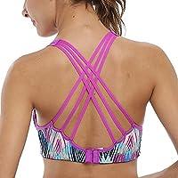 CharmLeaks Women Cross Back Sports Yoga Bra Light Support Non-wired Strappy Dance Training Gym Bra Tops L