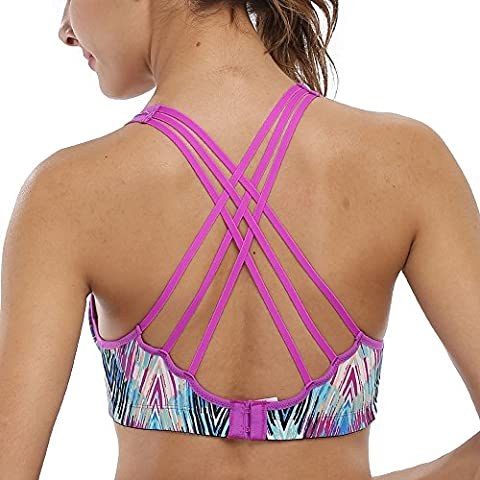 CharmLeaks Womens Light Support Cross Back Sports Bra Strappy Wirefree Workout Yoga Gym Tank Top M