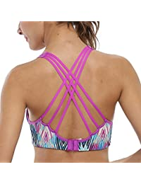 f621a445c1 CharmLeaks Women Light Support Strappy Cross Back Workout Yoga Gym Sports  Bra Top