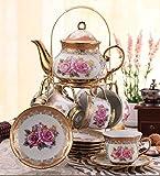 ufengke Hochzeit Geburtstag 13 Stück goldene Rot Blumen Bone China Tee-Set