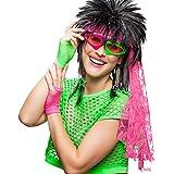 80er Jahre Kostüm Set Neon-Accessoires Brille, Handschuhe, Ohrringe, Stirnband neonfarbenes 90er Kostümzubehör grelles Disco Faschingszuhör schrille Karnevalsaccessoires Mottoparty Achtziger