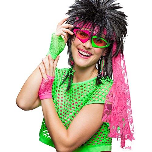 (80er Jahre Kostüm Set Neon-Accessoires Brille, Handschuhe, Ohrringe, Stirnband neonfarbenes 90er Kostümzubehör grelles Disco Faschingszuhör schrille Karnevalsaccessoires Mottoparty Achtziger)