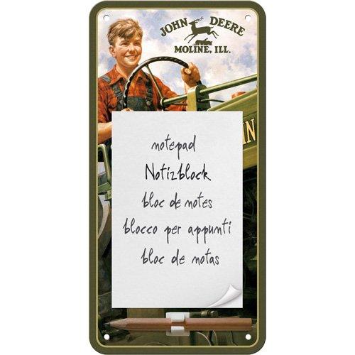 John Deere Magnet (Nostalgic-Art 84023 John Deere - Boy, Notizblock-Schild 10x20 cm)