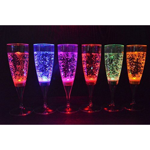 Verres a vin - SODIAL(R)6 multicolore LED lumiere flute vin liquides actives verres de Champagne pour la fete de nouvel an et mariage flute