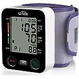 SIMBR Tensiómetro de muñeca Monitor de presión arterial Alta precisión y fiabilidad Gran pantalla LCD 90 grupos de datos con memorias para 2 Usuarios Color Negro