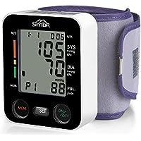 SIMBR Tensiómetro de muñeca Monitor de presión arterial Alta precisión y fiabilidad Gran pantalla LCD 90 grupos de datos con memorias para 2 Usuarios