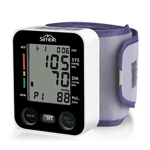 Blutdruckmessgerät Handgelenk, SIMBR Vollautomatisch Blutdruck- und Pulsmessung mit großer Manschette für zwei Benutzer (2x 90 speicherbare Messungen), hohe Messgenauigkeit