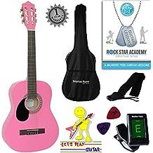 zurdos–Guitarra acústica infantil 3/4Guitarra de concierto con guitarra Pipas de funda, afinador y púas–Color Rosa