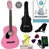'Stretton Payne' Guitare GAUCHERS Acoustique Classique 3/4 Pack - Rose - Avec Housse et Accordeur électronique et Mediator et Cours de guitare en ligne...