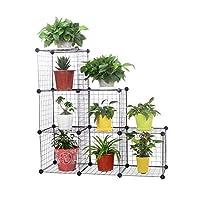 Cubic Plant Organizer Shelf, Black - H 111 cm x W 111 cm x D 37 cm