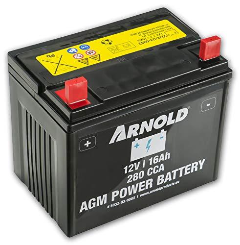 Arnold AGM Starterbatterie 12V 16Ah, 280 CCA für Rasentraktoren 5032-U3-0002, 12 V