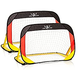 Goal Star Pop-Up Fußball-Tor Deutschland 120x80x80cm; Automatik Fussball-Torwand selbstaufrichtend; faltbar mit Tragetasche; 2er Set