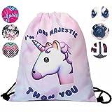 Schultertasche / Rucksack mit Kordelzug aus Nylon, faltbar, Aufbewahrungsmöglichkeit für Schule, Zuhause, Reisen, Sport, Einhorn