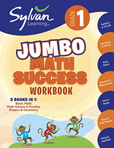 1st Grade Jumbo Math Success Workbook: Activities, Exercises, and Tips to Help Catch Up, Keep Up, and Get Ahead (Sylvan Math Jumbo Workbooks) (Grade Games Math For 1)