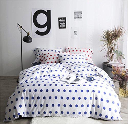 Bettwäsche Bettlaken Bettbezug Bettdecke Set 4 Stücke 100% Ägyptische Baumwollgewebe Zeitgenössisch Geometrischer Wellenpunkt Mikrofaser Reversibel Hypoallergen, Voller Königin Größe,D,Queen
