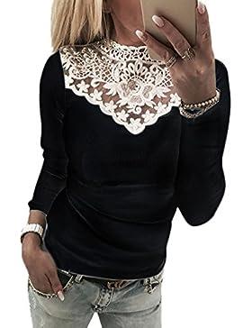 Jinglive Mujer Elegante Slim Fit Camisetas Moda Encaje Costura Cuello Redondo Blusa Remata Sólido Suave y Cómodo...