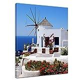 Kunstdruck - Griechische Mühle - Bild auf Leinwand - 40 x 50 cm - Leinwandbilder - Bilder als Leinwanddruck - Urlaub, Sonne & Meer - Mittelmeer - Griechenland - Mühle in Santorini